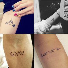 Tatuagem, tatuagem no antebraço, tatuagem feminina, tatuagem no braço, tattooo, tatuagem cabide, tatuagem moda, tatuagem avião, tatuagem minimalista, tatuagem desenho, tatuagem de frase, let it be, tatuagem god is greater than your ups and downs