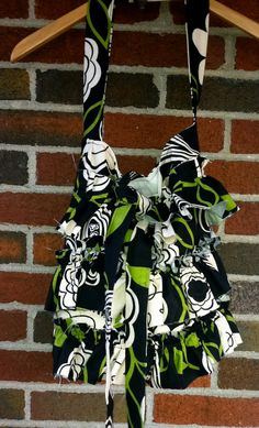 Shabby Ruffle Tote Bag  Handmade Vintage Slouchy Hobo by Caheez