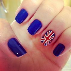 British nails maybe the underground sign on the thumb hair love the idea of a union jack accent nail prinsesfo Image collections