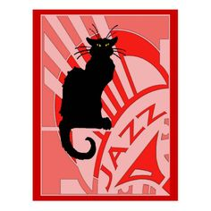 Shop Jazz Cat Poster created by figstreetstudio. Personalize it with photos & text or purchase as is! Jazz Cat, Art Deco Illustration, New Orleans Art, Jazz Poster, Cool Jazz, Cat Posters, Poster Prints, Art Prints, Cat Cards