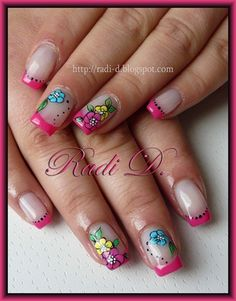 Hot pink french & flowers by RadiD - Nail Art Gallery… Nail Art Designs, Crazy Nail Designs, Beautiful Nail Designs, French Manicure Nails, Diy Nails, Fancy Nails, Cute Nails, Nail Picking, Flower Nail Art