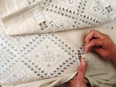 Hardanger Embroidery Design GZT~ inspiration collector — Lefkaritika / lace making in Lefkara, Cyprus . Hardanger Embroidery, Embroidery Stitches, Embroidery Patterns, Hand Embroidery, Types Of Embroidery, Learn Embroidery, Crazy Quilting, Art Du Fil, Drawn Thread