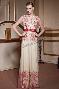 Red Embroidery V-neck Sleeveless Bowknot Belt Ball Dress SO981