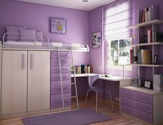 Bedroom:Bedroom Extraordinary Bathroom Images Using Rectangular Brown Woooden Bunk Beds And Rectangular Purple Rugs With Purple Stacking Chairs And Rectangular White Wooden Shelves Engaging Bedroom Inspiration Natural Wall Motifs for Funky Bedroom
