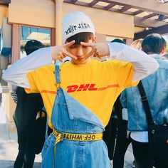 """"""" i literally love whatever on him tbh 🙂 but hong in beret and hong in minion outfit is😌🧡🧡🧡"""" Kpop Fashion, Korean Fashion, Male Fashion, K Pop, Minion Outfit, Mode Kpop, Chibi, Wattpad, Woo Young"""