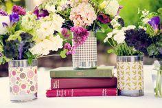 Book + flower centerpiece