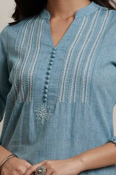 womens tops and blouses Best Picture For clothes for women professional For Your Taste You are looking for something, and it is going to tell you exactly what you are looking for, and y Simple Kurta Designs, New Kurti Designs, Kurta Designs Women, Salwar Designs, Embroidery On Kurtis, Kurti Embroidery Design, Embroidery Neck Designs, Embroidery Dress, Creative Embroidery