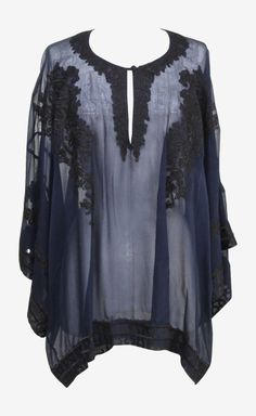 Oscar de la Renta Navy Dolmain Sleeve Tunic Top - Makes me think of Sophia Loren and those ladies - love the vibe