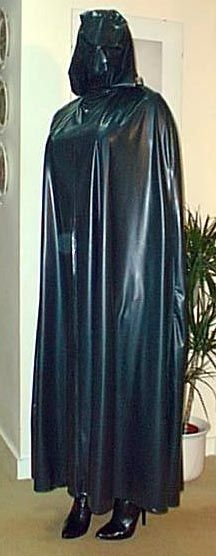Long black cape with face covered