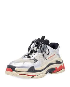 "Balenciaga trainer sneaker in mesh and calf leather with suede trim. Lace-up front. Looped pull at tongue. ""Triple S"" is imported. Balenciaga Arena, Balenciaga Shoes, Dad Sneakers, Leather Sneakers, Balenciaga Trainers, Versace Chain, Calf Leather, Mini, Moda Masculina"