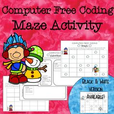 "Code Maze for Computer Free Coding- Included are two different code maze activities that your students can use without a computer. These coding mazes will help your students to learn about algorithms and how coding works with these fun ""unplugged"" activities where they help Tommy the Troll get to the snowman using arrows and code terms used with Blockly."