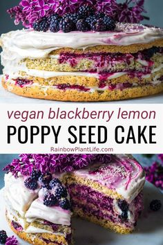 This Vegan Lemon Poppy Seed Layer Cake is light moist and tender and a complete show stopper. A fluffy vegan layer cake with layers of tangy blackberry ginger jam and a decadent vegan cream cheese frosting. This is truly the best cake you will ever taste Healthy Vegan Desserts, Vegan Dessert Recipes, Vegan Treats, Baking Recipes, Whole Food Recipes, Blackberry Recipes Vegan, Best Vegan Cake Recipe, Vegan Lemon Cake, Cake Recipes