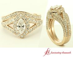 Marcasite Split Halo Ring || Marquise Shaped Diamond Halo Ring With White Diamond In 14K Rose Gold