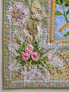 This is a beautiful embroidered flower display.#ad