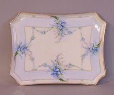 Porcelain Painting | painted porcelain dresser tray c1900 bavarian hand painted porcelain ... don't cha just love forgetmenots????