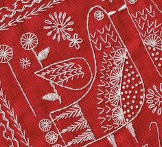 Modern Folk Embroidery Sampler 2014 worked in white on red linen Cushion Embroidery, Embroidery Sampler, Bird Embroidery, Hand Embroidery Stitches, Embroidery Techniques, Cross Stitch Embroidery, Embroidery Designs, Red Work Embroidery, Indian Embroidery