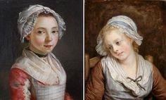 Sur le blog des petites mains.; http://les8petites8mains.blogspot.fr/2011/06/chapeaux-denfants.html A gauche, la jeune servante, musée des beaux-arts de Roanne, à droite, portrait de jeune fille par Greuze, vers 1765, musée Condé. --> tabliers à motifs, bijoux, coiffes...