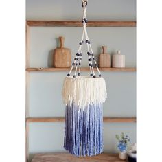Indigo-Dipped Yarn Chandelier