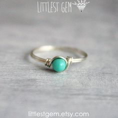 Tiny Turquoise Ring, Sterling Silver ring, wire wrapped ring, wire wrapped jewelry handmade, unique rings, turquoise ring