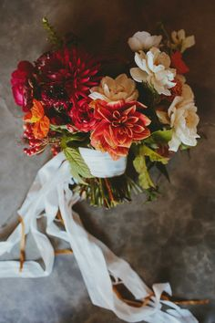 Wedding Bouquet Idea | Dahlias make for a handsome bridal bouquet for a rustic wedding at the Historic Barns of Nipmoose. Ro of Les Loups, Erin Ostreicher of Nectar & Root