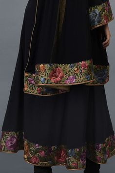 From our heritage Parsi Gara hand embroidered suits collection, this is a black Parsi Gara hand embroidered pure crepe silk anarkali kurta paired with black pure georgette silk dupatta and pure crepe silk lowers. The parsi gara embroidery is in s Designer Punjabi Suits, Designs For Dresses, Silk Dupatta, Embroidery Suits, Trendy Fashion, Womens Fashion, Anarkali Suits, Occasion Wear, Ready To Wear