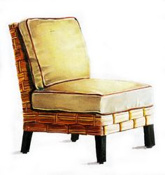 Wicker Chair. Hand drawn: Prismacolor Marker on Marker Paper.