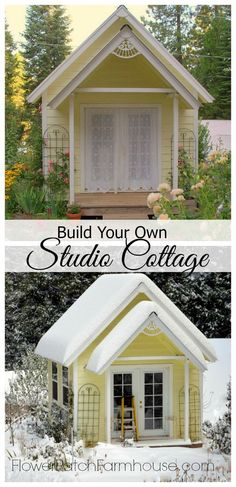 Build your own Garden Cottage aka She Shed.  Complete step by step plans with helpful links for the beginning DIY'er.  Also great for a back yard studio or man cave.