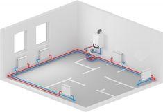 Двухтрубная система отопления с нижней разводкой Plumbing Installation, Family House Plans, Water Heating, Central Heating, Closet Bedroom, Heating Systems, Tiny House, Kids Rugs, House Design