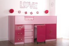 Ottawa 2 Tone Pink Mid Sleeper Storage Bed - Girls Childrens Bedroom Furniture