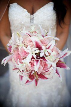 #fuchsia pink beach wedding #pink stargazer bouquet #destination wedding…