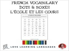 French Dots and Boxes Game - L'ÉCOLE ET LES COURS - No prep printable An easy and fun no-prep game that will elicit a lot of exposure and pronunciation for. French Verbs, French Teacher, Teaching French, Teaching Materials, Teaching Resources, Gcse French, Dots And Boxes, Target, Teacher Boards