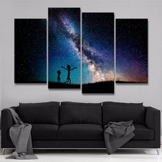 4 Pieces Rick And Morty Painting Modular Abstract Starry Sky Galaxy Canvas - WooShop Panel Wall Art, Canvas Wall Art, Canvas Paintings, Rick Y Morty, Photo Wall Decor, Home Decor Paintings, Print Pictures, Painting & Drawing, Prints