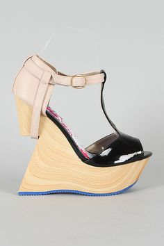 Qupid Birch-08X Two Tone T-Strap Cut Out Platfrom Wedge