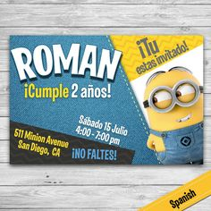 Invitacion de Minions - Fiesta Minions - Despicable Me Party- Invitacion - Personalizada - Para Imprimir- Spanish - Español by DsInvitations on Etsy