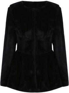 Black Long Sleeve Ruffle Faux Fur Coat pictures
