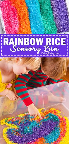 How to make a rainbow rice sensory bin. A great toddler activity and perfect for sensory kids.