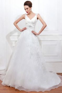 A-line V-neck Straps Crystal Cathedral Train Wedding Dress