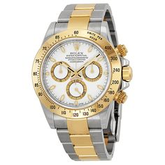 Rolex Cosmograph Daytona White Dial Stainless Steel and Yellow Gold Rolex Oyster Bracelet Automatic Mens Watch 116503 * Continue to the product at the image link. Watches For Men Unique, Rolex Watches For Men, Vintage Watches For Men, Luxury Watches For Men, Men's Watches, Dress Watches, Nice Watches, Beautiful Watches, Swiss Automatic Watches