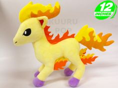 Pokemon Ponyta Plush Meet our latest Pokemon plush - Ponyta! These fiery toys are a must-have for your collection. - Plush is approx 30 cm / 12 inches tall. - Brand new with tags. - Ages 6 & up.