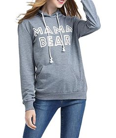 Womens Casual MaMa Bear Letter Print Sweater Hoodies Sweatshirt Coat Grey XLarge -- Click image for more details. Sweater Hoodie, Pullover, Maternity Sweater, Casual Sweaters, Women's Casual, Hoodies, Sweatshirts, Letter, Graphic Sweatshirt