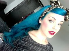 blue with cheetah bandana bow