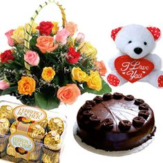 This Gorgeous Gift is sure to make perfect way to express your love. This Gift Hamper includes : Basket Arrangement of 15 Multi Color Roses along with a cute Teddy Bear (Size : 6 inches) and 1/2 Kg Chocolate Cake with Box of Ferrero Rocher Chocolates (Net Weight : 200 Gms). http://www.ghasitaramgifts.com/product/romantic-choco-love/
