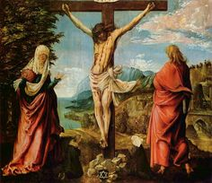 Christ on the Cross with Mary and John - 1515-16  by Albrecht Altdorfer