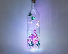 Pink Flamingo Gifts, Bottle Lamp, Christmas Present For Daughter, Fairy Lights, Flamingo Lovers, Flamingo Decorations, Tropical Decor