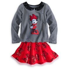 Minnie Mouse Sequined Houndstooth Top and Tutu Set