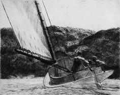 Edward Hopper (Nyack, 1882 - Nueva York, 1967)  El Cat Boat.  Año  1922.  Técnica  Grabado.  Medidas  35,56 x 37,78 cm.  Propiedad  National Gallery of Art, Washington, Rosenwald.  Collection 1949. Inv.:1949.5.70