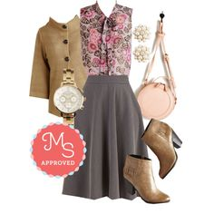 In this outfit: Bugle Joy Skirt, Zephyr than Ever Top, Corner Coffee Shop Cardigan, Bouquet of Beauty Earrings, Information Age Watch, From the Round Up Bag, You Only Livingston Once Bootie #workwear #professional #style #outfits #ootd #chic #booties #fall #ModCloth #ModStylist #fashion
