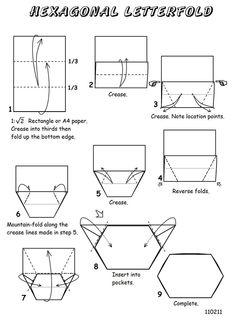 Hexagonal Letterfold Origami Envelope, Origami Boxes, Origami Paper, Letter Folding, Origami Diagrams, Envelope Lettering, Paper Boxes, Snail Mail, Jewelry Ideas