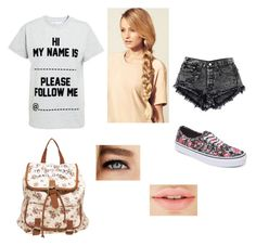 """""""Hi my name is..."""" by sexymofo-1 ❤ liked on Polyvore featuring Topshop, Vans, Wet Seal and Hershesons"""