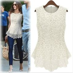 New Spring/Summer 2014 Fashion Casual Women Cotton Lace Dresses Sleeveless Tank Tops White Black Vest Blouse Lady's Apparel $40.19